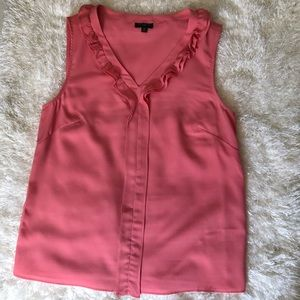 Talbots Petite coral pink sleeveless blouse